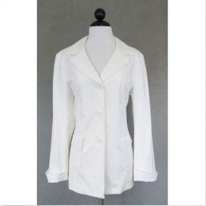 Lafayette 148 NY White Stretch Jacket Blazer Sz 8